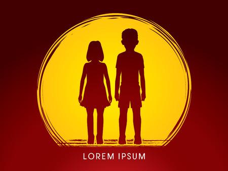 child abuse: Stop Child abuse, help children designed on grunge moonlight background graphic vector. Illustration