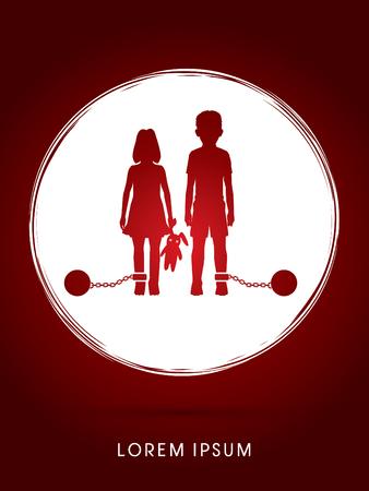 ragazze a piedi nudi: abusi Stop Child, bambini con catena e palla progettati grunge cerchio sfondo grafico vettoriale.