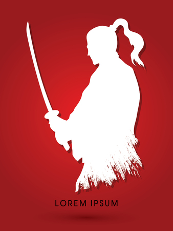 karate fighter: Silhouette Samurai, Ready to fight graphic vector