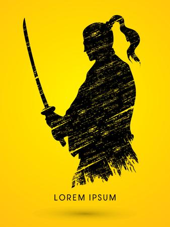 Silhouette Samurai, Ready to fight designed using grunge brush graphic vector Illustration