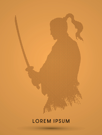 bushido: Silhouette Samurai, Ready to fight designed using dots and spots graphic vector