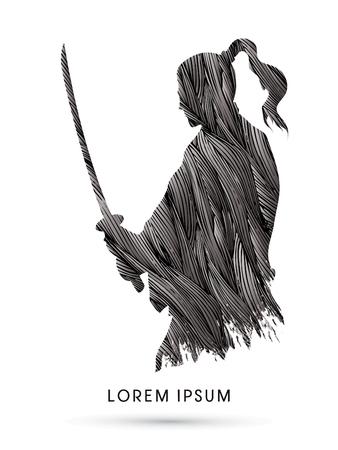 Silhouette Samurai, Ready to fight designed using grunge brush graphic vector  イラスト・ベクター素材