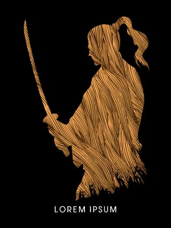 bushido: Silhouette Samurai, Ready to fight designed using grunge brush graphic vector Illustration