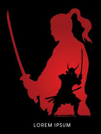 Silhouet Samurai, Ready to grafische vector vechten