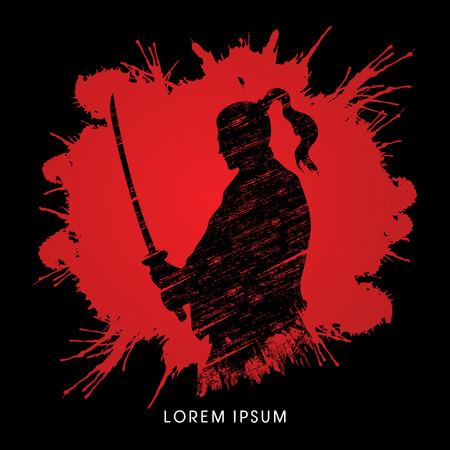 silhouette soldat: Silhouette Samurai, pr�t � se battre con�u sur splash fond de sang vecteur graphique