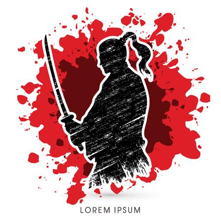 cartoon warrior: Silhouette Samurai, Ready to fight designed on splash blood background graphic vector