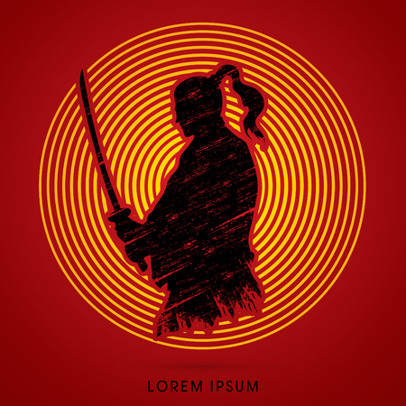 swordsman: Silhouette Samurai, Ready to fight designed on line cycle background graphic vector