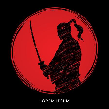 Silhouet Samurai, klaar om te vechten ontworpen op de achtergrond zonlicht grafische vector
