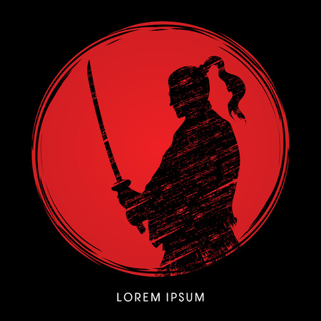 cartoon warrior: Silhouette Samurai, Ready to fight designed on sunlight background graphic vector