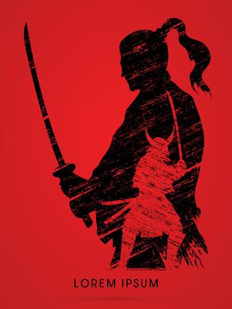 Silhouet Samurai, klaar om te vechten ontworpen met behulp van grunge brush grafische vector Stock Illustratie