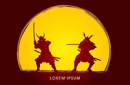 samurai warrior: Samurai Warrior with sword, Ready to fight designed on moonlight background graphic vector Illustration