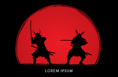 Samurai Warrior with sword, Ready to fight designed on sunset background graphic vector
