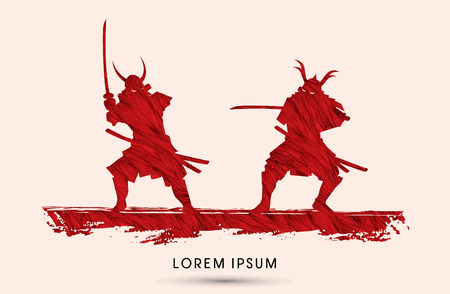 ready logos: Samurai Warrior with sword, Ready to fight designed using grunge brush graphic vector