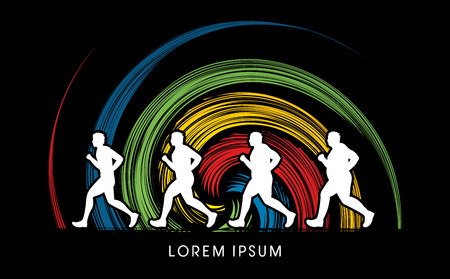 wheel spin: Fat man turning into Thin designed on spin wheel background graphic vector. Illustration