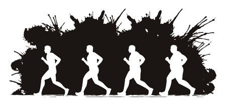 runner up: Fat man turning into Thin designed on splash ink background graphic vector.