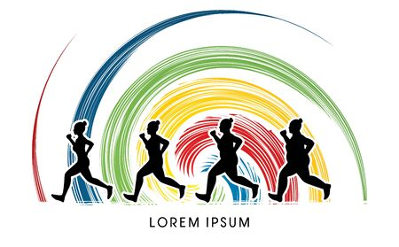 wheel spin: Fat woman turning into Thin designed on spin wheel background graphic vector.