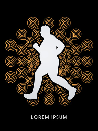 Fat man running designed on fireworks background graphic vector.