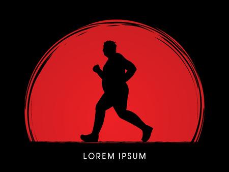 fatness: Fat man running designed on sunset background graphic vector. Illustration