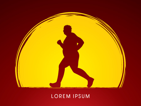 Fat man running designed on moonlight background graphic vector.