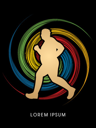wheel spin: Fat woman running designed on spin wheel background graphic vector