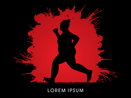 fatness: Fat woman running designed on splash blood background graphic vector. Illustration