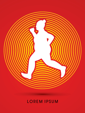 fatness: Fat woman running designed on circle line background graphic vector.
