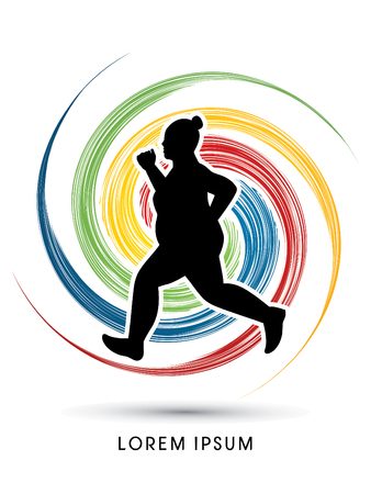 wheel spin: Fat woman running designed on spin wheel background graphic vector.