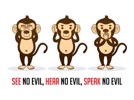 Drie apen. Zie geen kwaad, hoor geen kwaad, spreek geen kwaad grafische vector. Vector Illustratie