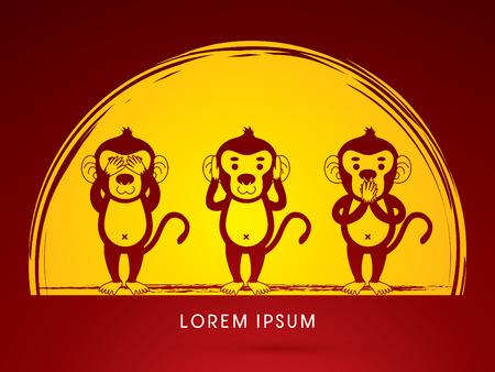 see: Three monkeys. SEE no evil, HEAR no evil, SPEAK no evil. Design on moonlight background graphic vector.