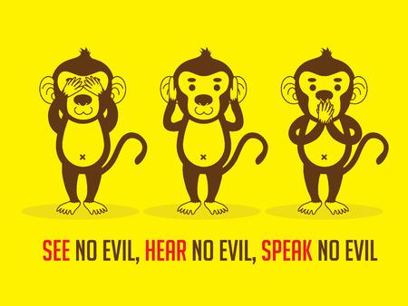 Haer Keine Bösen Karikatur Weise Affe Hält Sich Die Ohren Lizenzfrei ...