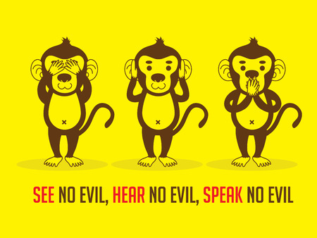see no evil: Three monkeys. SEE no evil, HEAR no evil, SPEAK no evil graphic vector. Illustration