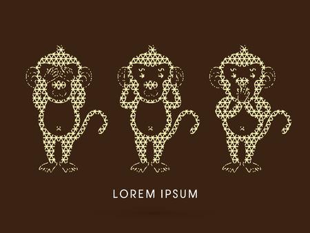 see no evil: Three monkeys. SEE no evil, HEAR no evil, SPEAK no evil. Design using geometric pattern graphic vector.