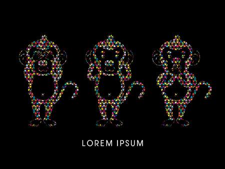 see no evil: Three monkeys. SEE no evil, HEAR no evil, SPEAK no evil. Design using colorful mosaic pattern graphic vector.