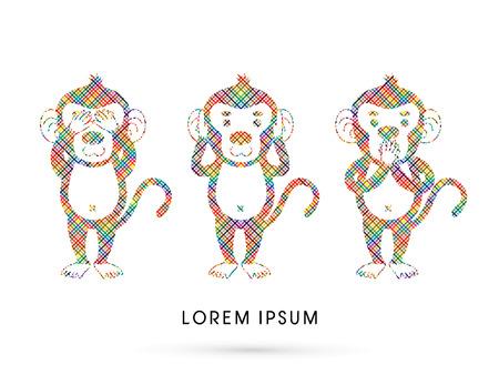 Three monkeys. SEE no evil, HEAR no evil, SPEAK no evil. Design using line colorful pixels graphic vector. Illustration
