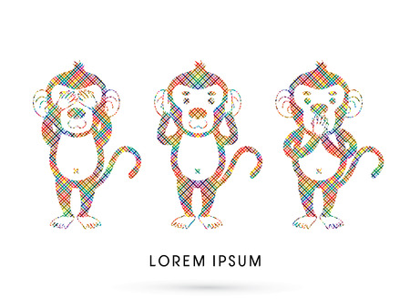 see no evil: Three monkeys. SEE no evil, HEAR no evil, SPEAK no evil. Design using line colorful pixels graphic vector. Illustration