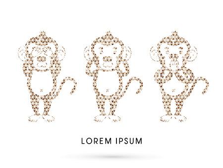 see no evil: Three monkeys. SEE no evil, HEAR no evil, SPEAK no evil. Design using mosaic pattern graphic vector.