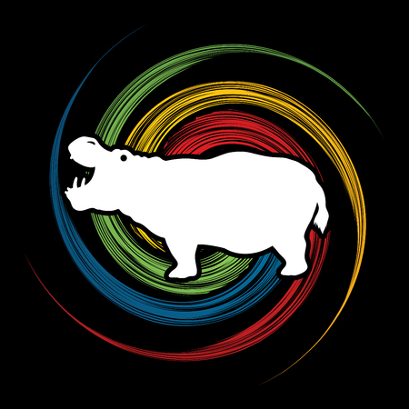 spin wheel: Hippopotamus silhouette, designed on spin wheel background graphic vector.