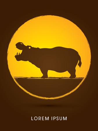 sphere standing: Hippopotamus silhouette, graphic vector. Illustration