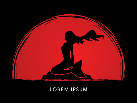 Mermaid sitting designed on sunset background graphic . 矢量图片