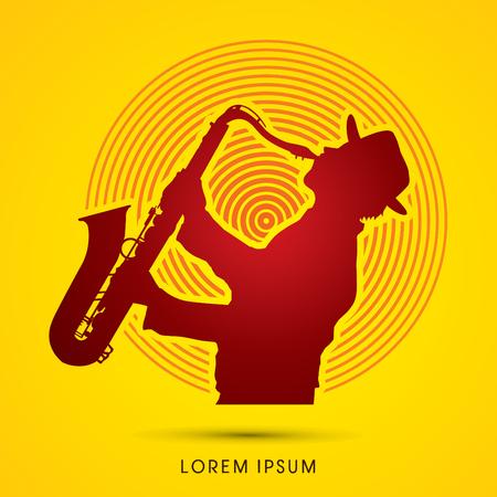 saxof�n: Hombre que toca el saxof�n, dise�ado en el fondo la luz del sol gr�fico. Vectores