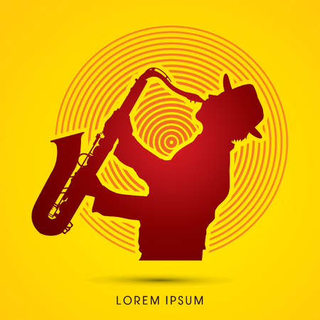 saxophone: Man playing saxophone, designed on sunlight background graphic .