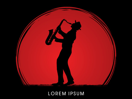 Man playing saxophone, designed on sunset background graphic .