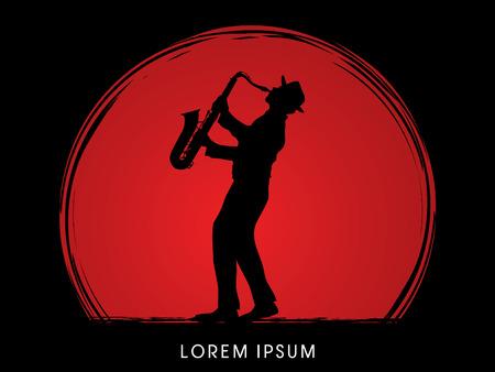 Man playing saxophone, designed on sunset background graphic .