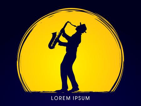 Hombre que toca el saxofón, diseñado en el fondo claro de luna gráfico. Foto de archivo - 53172317