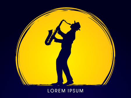 Man playing saxophone, designed on moonlight background graphic .