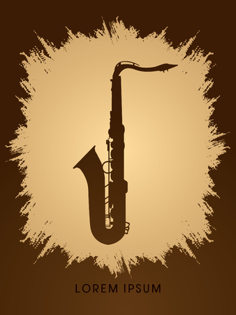 grunge frame: Saxophone silhouette, designed on grunge frame background graphic vector.