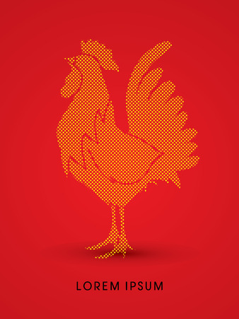 acclaim: Cock designed using dots and spots graphic vector.