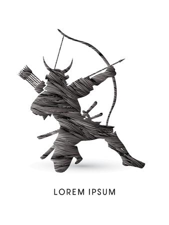 samurai warrior: Samurai Warrior with bow, designed using black grunge brush graphic vector.