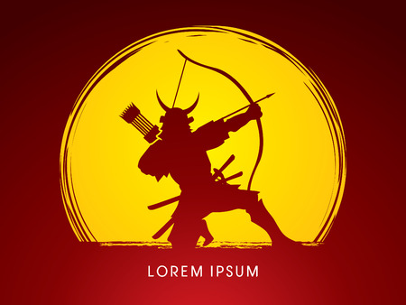 samourai: Samurai Warr avec un arc, conçu sur fond clair de lune vecteur graphique.