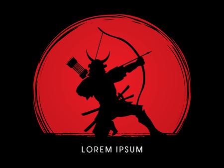 Samurai Warrior with bow, designed on sunset background graphic vector. Vektorové ilustrace